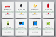 Corporate identity vector templates set with. Doodles technology theme. Target marketing concept Stock Photography