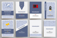 Corporate identity vector templates set with doodles technology theme. Target marketing concept Stock Photography