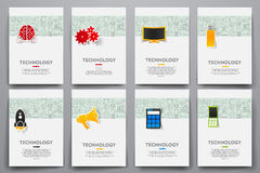 Corporate identity vector templates set with doodles technology theme. Target marketing concept Stock Image