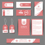 Corporate identity vector templates set with freehand floral logo Royalty Free Stock Images