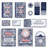 Corporate Identity vector templates set. Vector decorative retro greeting card, flyers, books, invitation design Stock Photo