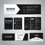 Corporate Idetity Set. Banner, flyers, brochure, business cards, gift card design templates set with black geometric striped background. Corporate Identity set Royalty Free Stock Images
