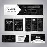 Corporate Idetity Set. Banner, flyers, brochure, business cards, gift card design templates set with military black background . Corporate Identity set Royalty Free Stock Images
