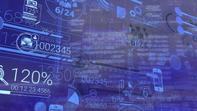 Corporate Infographic And Financial Data On A Blue Background