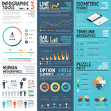 Corporate infographics vector elements in flat business colors Stock Photo