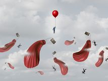 Corporate Insurance Plan. And business protection as a prepared businessman saved by emergency equipment with other people falling from deflated air balloons Royalty Free Stock Image