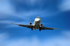Corporate Jet. Fast approaching airport for landing Stock Image