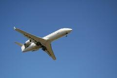 Corporate jet landing Stock Photo