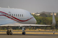 Corporate jet on runway Royalty Free Stock Images