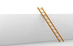 Corporate ladder. Orange Ladder leaning against a wall Royalty Free Stock Image