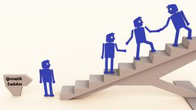 Corporate ladder. Ladder being climbed by blue men stock illustration