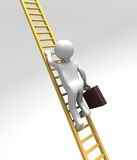 Corporate Ladder Climber (With Clipping Path). 3D rendered figure climbing a golden ladder upwards holding on to a briefcase Stock Photos
