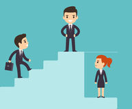 Corporate ladder and glass ceiling. Cartoon business men climbing corporate ladder with woman under glass ceiling. Sexism issues in workplace. Flat vector style stock illustration