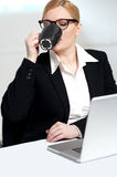 Corporate lady drinking coffee. At work Stock Photos