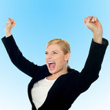 Corporate lady expressing success loudly Stock Image