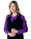 Corporate lady holding business documents Royalty Free Stock Photography