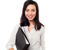 Corporate lady holding business files Stock Images
