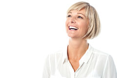 Corporate lady laughing heartily Stock Photo