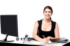 Corporate lady preparing documents Stock Images