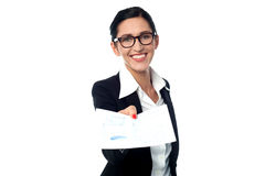 Corporate lady showing the documents Stock Photography