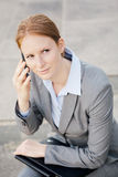 Corporate Leader Calls by Phone Stock Images