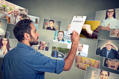 Corporate life of multicultural people. Businessman signing up a job contract royalty free stock photography