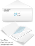 Corporate logo business letter envelope stationery. Virtual corporate business letter envelope stationery stock illustration