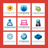 Corporate Logos. An illustrated set of different corporate logos, isolated on red background Stock Images