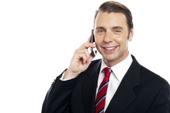 Corporate male consultant talking over cellphone Stock Images