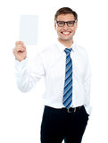 Corporate male holding blank white card Stock Photos
