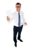 Corporate male showing blank playing card Stock Images