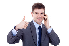 Corporate Man Being Positive On phone Stock Images