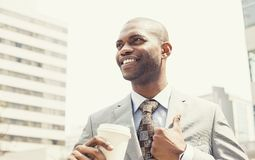 Corporate Man Drinking Coffee In Sun Standing Outdoor Royalty Free Stock Photos