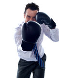 Corporate man posing boxing punch Stock Photography