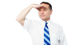 Corporate man searching for something Stock Images