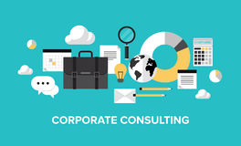 Corporate management and consulting concept. Flat design style modern vector illustration concept of corporate consulting, business management, financial Stock Photography