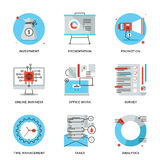 Corporate management elements line icons set. Thin line icons of corporate accounting, financial statistics, customer survey service, online business, time Royalty Free Stock Image
