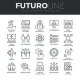 Corporate Management Futuro Line Icons Set. Modern thin line icons set of corporate management and business leader training. Premium quality outline symbol stock illustration