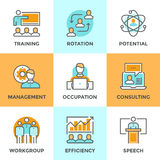 Corporate management line icons set. Line icons set with flat design elements of corporate management, business people training, online professional consulting Royalty Free Stock Image