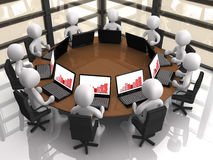 Corporate Meeting. 3d people having a corporate meeting in their company's office Royalty Free Stock Photography