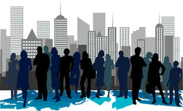 Corporate meeting in city. An illustration of silhouetted business people in a corporate meeting and city skyline in the background stock illustration