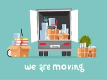 Corporate Moving into new office Concept. Business Relocation in new place. Things in Box in Truck set. Moving Furniture. Van with royalty free illustration