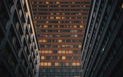 Corporate office buildings. Low angle view of corporate office buildings in a big city Stock Photo