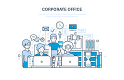 Corporate office concept. Business team, teamwork. Interior of the room. Corporate office. Business team, cooperation, collaboration, partnerships, teamwork Royalty Free Stock Photo