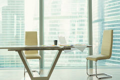 Corporate office interior with modern table, two chairs Royalty Free Stock Photography