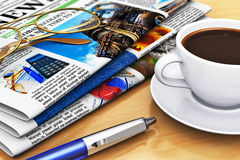 Newspapers and coffee on office table. Corporate office life and business break concept: newspapers with business news, cup of fresh black coffee, eyeglasses and Royalty Free Stock Photos