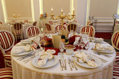 Corporate party. Table, elegant setting Stock Image