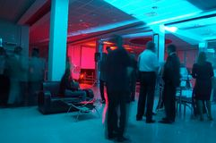 Corporate party 5. Corporate party in the big hall with blue and red lights Stock Photos