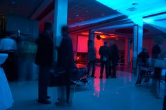 Corporate Party 6. Corporate party in the big hall with blue and red lights Royalty Free Stock Photography