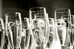 Corporate party champagne. Champagne background, natural light, grain added Stock Image